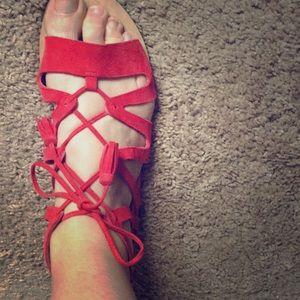 Elie Tahari lace up tasseled sandals
